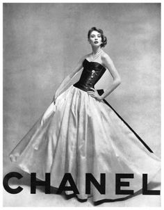 #vintage couture #chanel Suzy Parker in CHANEL haute couture Beautiful black and white gown.  #1950's