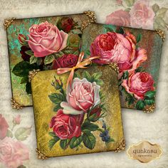 FLORAL VICTORIAN Decorative Cards - Instant Download - Digital Collage Sheet - Digital Download - Square Images - 2 inch Square - Floral