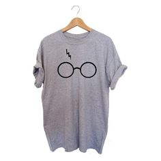 Women's G173 Ladies Women Harry Potter Glasses Cute Print Short Sleeve... ($11) ❤ liked on Polyvore featuring tops, t-shirts, black, tops & tees, pattern t shirt, patterned tops, short sleeve tee, short sleeve t shirt and print top