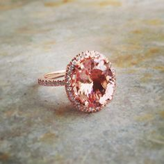 Morganite Halo Ring Natural Oval Cut 14k Rose Gold, 14k White Gold or 14k Yellow Gold