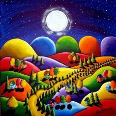 #Colorful #art Peace on Earth 5 Houses Hills Folk Art Giclee PRINT