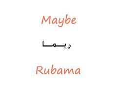 #Arabic Maybe