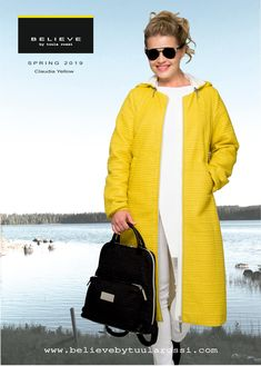 Claudia Yellow super light quilted jacket with gorgeous City -Backpack