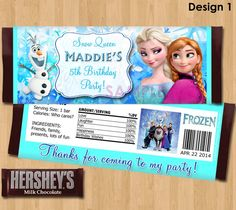 Disney Frozen Candy Bar Wrappers - Frozen Candy Wrapper  - Frozen Party Favor - Birthday Printable matches Invitation Elsa Anna Olaf Ideas