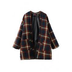 Open Front Long Sleeve Double Pockets Plaid Coat (280 CNY) via Polyvore featuring outerwear, coats, beautifulhalo, black coat, open front coat, plaid coat, tartan coat and long sleeve coat