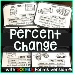"""*Now also includes an editable GOOGLE Forms version.Students find percent change between """"then and now"""" costs of 2 items listed on each card. They then compare the percent increases to determine which item's cost increased the most over the years. Students compare prices of food, cars, homes, salari... 7th Grade Math, Math Class, Consumer Math, Percents, Financial Literacy, Teaching Math, Task Cards, Math Activities, Students"""
