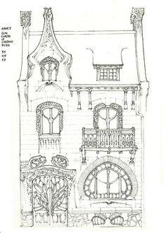 Maison Huot, Nancy, France designed by Émile André 1900 - sketch by gerard michel, via Flickr #Art #Nouveau