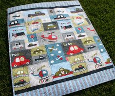 Vroom Baby Boy Quilt Toddler Vehicles Trucks by SunnysideDesigns2, $149.00