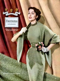 Nancy Berg in a Forstmann ad, 1953 Would love to print this and put it up in my sewing room.  Beautiful.