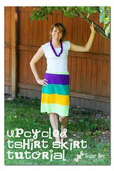 Upcycled Tshirt Skirt - Sugar Bee Crafts