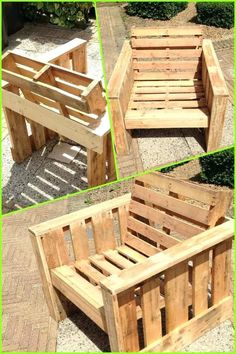Self made chair, made completely from old pallets. Recycle upcycle reclaimed wooden garden furniture DIY by Marianne Diaz Barri Pallet Crafts, Pallet Projects, Furniture Projects, Garden Projects, Wood Crafts, Old Pallets, Recycled Pallets, Wooden Pallets, Pallet Wood