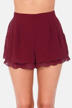 The Scallop Poll Scalloped Burgundy Shorts are on-trend and cute as can be!Cute high-waisted ruffle shorts for those hotter gamedays!Really like scalloped shorts!Cute shorts ~ OMG it looks like a Affordable Outfits You Will Definitely Want To Try Modest Fashion, Fashion Outfits, Womens Fashion, Fashion Trends, Lolita Fashion, Fashion Shoes, Summer Outfits, Casual Outfits, Cute Outfits