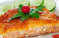 Pink salmon baked with cheese