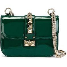 Valentino Garavani 'Glam Lock' shoulder bag (5.975 BRL) ❤ liked on Polyvore featuring bags, handbags, shoulder bags, valentino, bolsas, purses, green, patent leather handbags, shoulder hand bags and green handbags