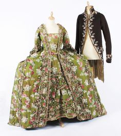 Robe a la francaise ca. 1750's and coat ca. 1790's
