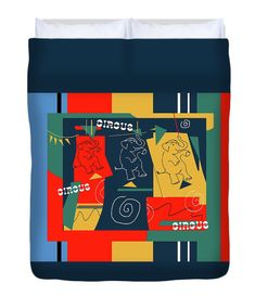 """Circus Buddies Duvet Cover Red and Blue  