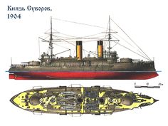 Acorazado Kniaz Suvorov 1904, hundido en la Batalla de Tsushima en 1905