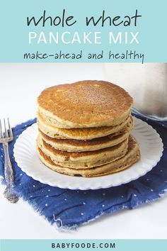 This easy Whole Wheat Pancake Mix takes 5 minutes to toss together and is made with whole wheat, ground flax seeds and just the right amount of cinnamon. It's the perfect staple to stock in your pantry for a quick breakfast on a busy morning! Healthy Pancake Mix, Diy Pancake Mix, Homemade Pancakes, Pancakes Easy, Breakfast Pancakes, Pancakes Cinnamon, Homemade Breads, Whole Wheat Pancakes, Simple Whole Wheat Pancake Recipe