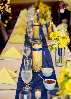 Best 25+ Pretty Blue And Yellow Flowers For Table Wedding Decoration  https://oosile.com/25-pretty-blue-and-yellow-flowers-for-table-wedding-decoration-18603 Yellow Centerpiece Wedding, Royal Blue Centerpieces, Lemon Centerpieces, Wedding Yellow, Blue Sunflower Wedding, Wedding Centerpieces, Wedding Decorations, Yellow Table, Royal Blue Weddings