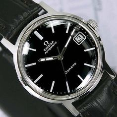 SWISS-VINTAGE-MENS-OMEGA-GENEVE-AUTOMATIC-DATE-ANALOG-DRESS-WATCH-LEATHER-BAND