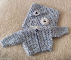 Knitted Crochet Baby or Reborn Clothes Girls Cardigan Blanket Headband | eBay