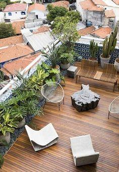 Terrace Design Ideas Roof Terrace Design, Rooftop Design, Patio Design, Rooftop Terrace, Terrace Garden, Balkon Design, Garden Stand, Small Trees, Garden Styles
