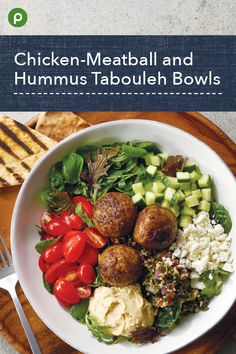 Chicken-Meatball and Hummus Tabouleh Bowls Publix Recipes, Paleo Recipes, Dinner Recipes, Cooking Recipes, Beet Salad Recipes, Clean Eating, Healthy Eating, Lemon Vinaigrette, Lebanese Recipes
