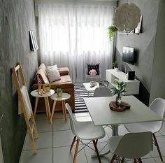 Small space No problem! Everything is possible in the interior design world! Small Apartment Interior, Small Apartment Living, First Apartment Decorating, Small Living Rooms, Home Living Room, Living Room Decor, Home Room Design, Living Room Designs, Interior Design