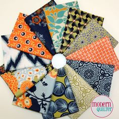 Botanique Fat Quarter Fabric Bundle by Joel Dewberry (12FQs) - Designer bundle, navy, green, orange, gold, yellow, cream
