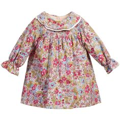 Baby girls very pretty green, pink and blue floral printed dress by