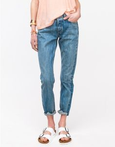 The perfect slouch jean from Rag & Bone in a vintage faded blue wash. Features slight distressing, soft, worn-in feel, and skinny, slouchy fit. • Light wash denim • Classic 5 pocket style • Button fly • Slouchy, slightly loose fit • Distressed, vin