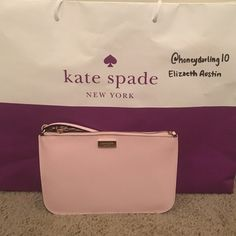 Kate Spade Wristlet This is an authentic Kate spade wristlet in a pale/blush pink color. Has been used one time, is in great condition. kate spade Bags Clutches & Wristlets
