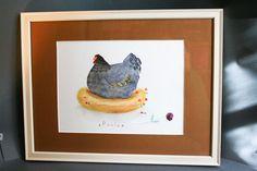 Illustration originale  Paula la poule  Crayons   aquarelle par MadameRhubarbe, €110.00