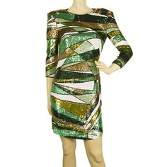 Emilio Pucci Green Ochre White Fully Sequined Evening Occasion Mini Dress Emilio Pucci, Green Dress, Two Piece Skirt Set, Sequins, Dresses For Work, Club, Elegant, Mini, Skirts
