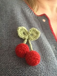 Crocheted Cherry Brooch, free crochet pattern by Hookin With Laa Laa.