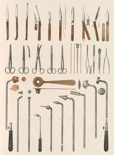 """Surgical instruments"" from Marc-Jean Bourgery Traité complet de l'anatomie. Volume Plate ed: I posted this a long time ago. I recommend Vintage Printable for cool old illustrations like this. Medical Art, Medical Science, Medical History, Instruments, William Morris, Things Organized Neatly, Surgical Tech, Medical Anatomy, Plague Doctor"