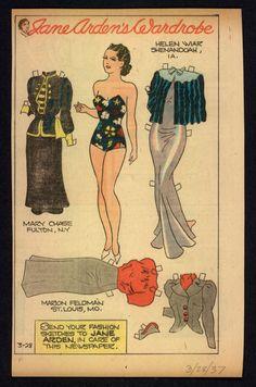 1937 Uncut Jane Arden Newspaper Paper Doll JA24 | eBay