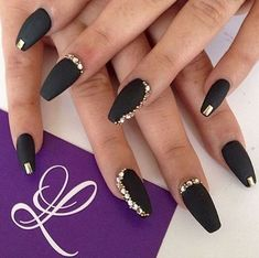 22 Black Nails That Look Edgy and Chic - Bring out the gold bling for a unique look.