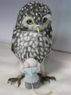 Needle felt Owl by Helen Priem.Mouse by Barby Anderson