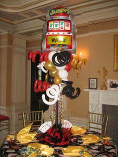 Casino Theme Balloon Topiary Centerpiece