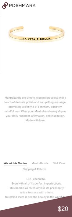 MantraBand • La Vita è Bella Never worn.  I got this as a duplicate. 18K gold plated. From a pet free and smoke free home. Similar to Stella & Dot or Alex & Ani. MantraBands Jewelry Bracelets