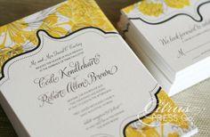 budget wedding ideas DIY invitations from Etsy yellow black cream damask