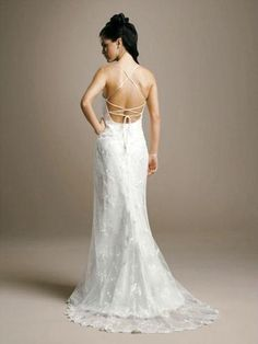 2012 Open Back Thin Strap Laced Wedding Dress