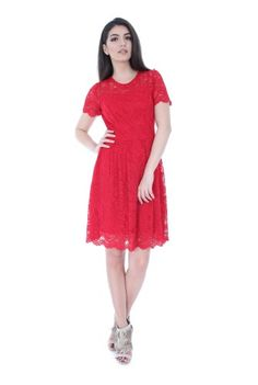 Rochie eleganta rosie din dantela DR3005 -  Ama Fashion Short Sleeve Dresses, Dresses With Sleeves, Fashion, Gowns With Sleeves, Moda, Fashion Styles, Fashion Illustrations, Fashion Models