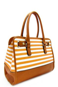 Designer Stripe Top Handle Bag