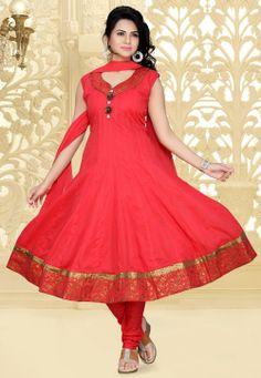 Red Cotton Anarkali Readymade Churidar Kameez @ $74.00