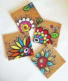 Handpainted coasters Come see some of the amazing things that I found this week on Etsy! The Coasters, Pottery Painting, Ceramic Painting, Painted Pottery, Painting On Tiles, Wal Art, Diy And Crafts, Arts And Crafts, Tile Crafts