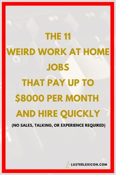 Job Discover 14 Best Work from Home Jobs that Hire Fast & Pay Good - Luster Lexicon Does making a liveable income online sound good to you? These are the 13 best work from home jobs that hire fast and pay good in Work From Home Careers, Work From Home Companies, Online Jobs From Home, Work From Home Opportunities, Work From Home Tips, Online Work, Earn Money From Home, Way To Make Money, Make Money Online