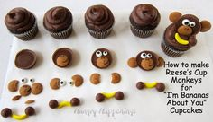 How to make Reese's Cup Monkeys and I'm Bananas About You Cupcakes for Valentine's Day by @hungryhappening