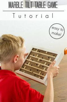 Learn how to make an easy marble tilt table game with supplies found at the craft store. Learn Woodworking, Woodworking Projects Diy, Woodworking Plans, Woodworking Apron, Woodworking Chisels, Woodworking Furniture, Diy Furniture Projects, Diy Craft Projects, Wood Projects